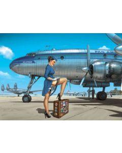 "ROMAIN HUGAULT : GEËMAILLEERDE METALEN PLAAT "" PAN AMERICAN AIRWAYS """